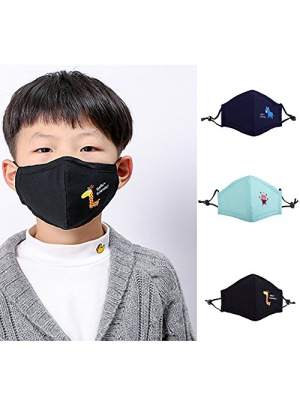 Cute Kids Masks Animal Cotton Mouth Mask Children's PM2.5 Guaze Mask Dustproof Face Mask with N95 Filters Respirator for Outdoor 3Pcs
