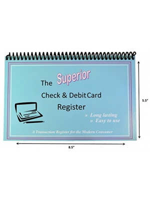 The Superior Check and Debit Card Register W I D E edition - Blue