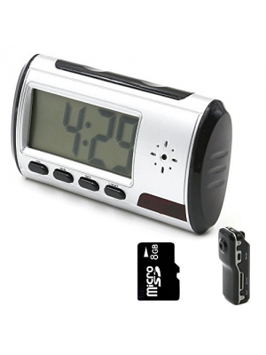 YYCAM Mini Hidden Camera Spy Alarm Clock Nanny Cam [with One More Mini DV and 8GB Micro SD Card]