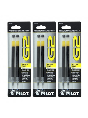 Pilot G2, Dr. Grip Gel/Ltd, ExecuGel G6, Q7 Rollerball Gel Ink Pen Refills, 0.5mm, Extra Fine Point, Black Ink, Pack of 6