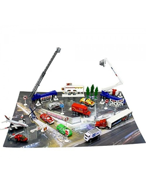 """Manhattan Life"" Set of 50 Toy Diecast Automobiles & Scenic Pieces With Mat Including Helicopters, Cranes, Airplane, SWAT Truck, Fire Truck, & much More, Tons of Fun, Great for Kids, by Dimple"