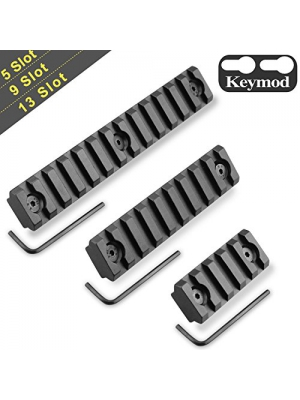 Keymod Picatinny Rail Sections, Monoki 5-Slot 9-Slot 13-Slot Lightweight Picatinny Rail Section for Keymod Handguard Mount Rail System with 3 Allen Wrench & Solid-Style, 3 Pack