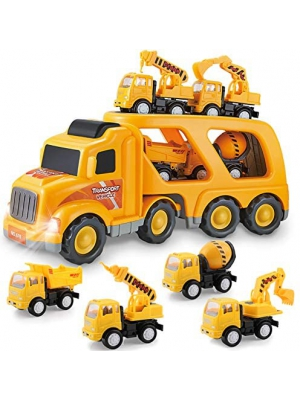 Construction Truck Toys for 1 2 3 4 Years Old Toddlers Kids Boys and Girls, Car Toy Set with Sound and Light, Play Vehicles in Friction Powered Carrier Truck, Small Crane Mixer Dump Excavator Toy