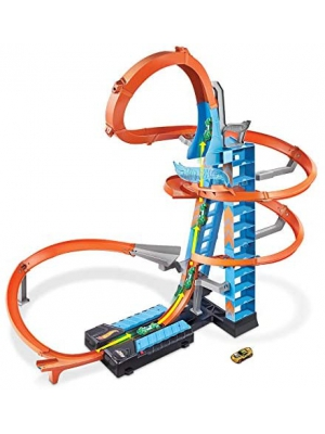 Hot Wheels Sky Crash Tower Track Set, 2.5+ ft/83 cm High with Motorized Booster, Orange Track & 1 Vehicle, Race Multiple Cars, Gift for Kids 5 to 10 Years Old & Up (GWT39)