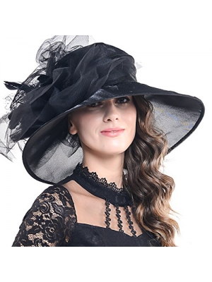 Women Corrugated Church Wide Brim Dress Hat with Rose Accent