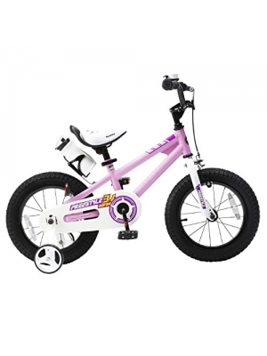 RoyalBaby BMX Freestyle Kids Bike, Boy's Bikes and Girl's Bikes with training wheels, Gifts for children, 14 inch wheels, Pink