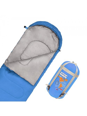 JBM Sleeping Bag with Compact Bag in 4 Seasons Multi Colors Blue Green Insulated Waterproof and Repellent Semi Rectangular Printed Pattern