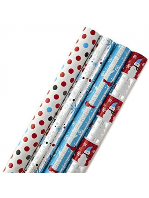Hallmark Holiday Wrapping Paper Bundle with Cut Lines on Reverse, Foil Snowmen and Snowflakes (Pack of 4, 110 sq. ft. ttl.)