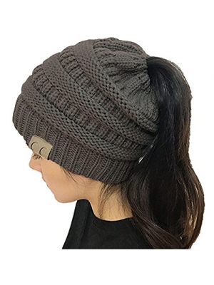Gagget Women's Winter Knit Cup Beanie Tail Ponytail Winter Warm Stretch High Bun Knit Hat