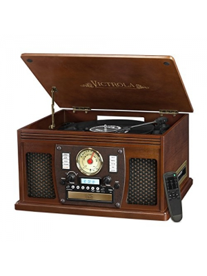 Victrola Nostalgic Aviator Wood 8-in-1 Bluetooth Turntable Entertainment Center, Espresso