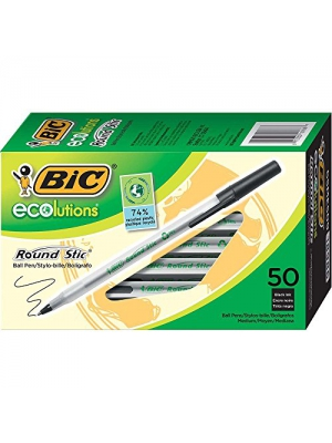 BIC Ecolutions Round Stic Ball Pen, Medium Point (1.0mm), Black, 50-Count