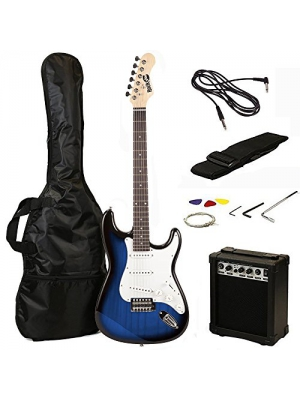 RockJam RJEG02 Electric guitar Starter Kit - Includes Amp, Lessons, Strap, Gig Bag, Picks, Whammy, Lead and Spare Strings. - Blue Burst