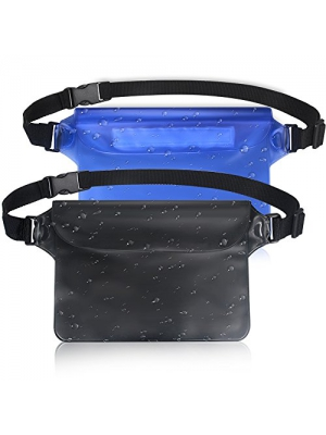 Waterproof Pouch - Aisver Waterproof Fanny Pack, Waterproof Dry Bag with Waist Strap Keep Your Call Phone/Wallet/Passport Safe and Dry, Perfect for Beach/Swimming/Surfing/Boating (2-Pack)