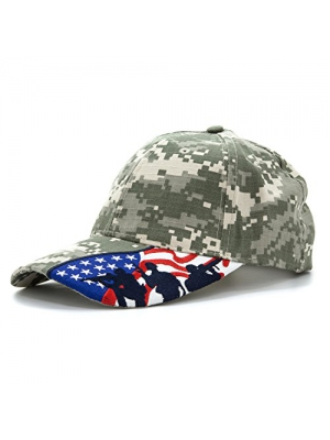 Embroidered Marines Hat with USA Flag and Military Soldiers Silhouettes Adjustable Baseball Cap