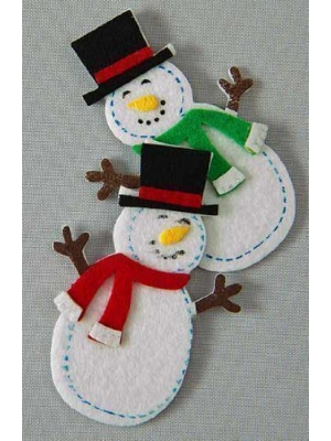 Package of 30- Jolly Felties Snowmen in Top Hats with Sticky Backs