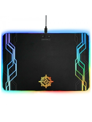 ENHANCE LED Gaming Mouse Pad Hard Large Surface - 7 RGB Light Up Modes, Lighting Brightness Controls with Transparent Decals & Edges - Ambient Desktop Lighting & Accurate Tracking