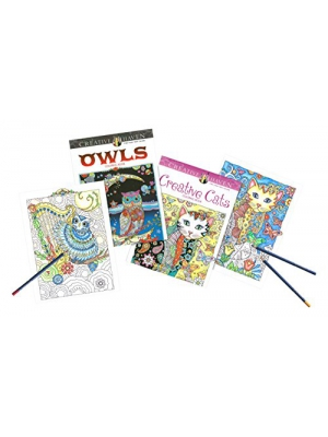 Faber Castell Creative Haven Cats & Owls Coloring Books with ART GRIP Aquarelle Pencils and Sharpener