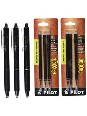 Pilot FriXion Clicker Retractable Gel Ink Pens, Eraseable, Fine Point 0.7 mm, Black Ink (314505P)