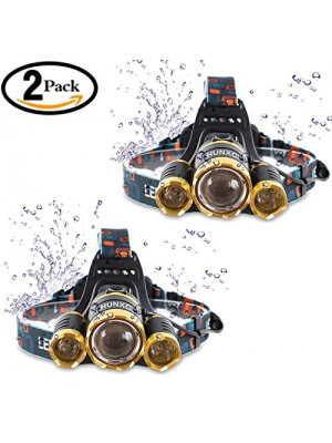 2 Pack Brightest and Best 6000 Lumen Bright Headlamp Flashlight , IMPROVED LED with Rechargeable Batteries for Reading Outdoor Running Camping Fishing Walking - Waterproof Headlight