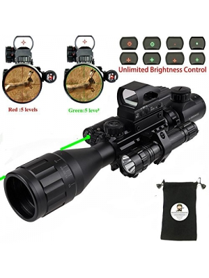 AR15 Tactical Rifle Scope Combo C4-16x50EG Hunting Dual Illuminated with Red Laser sight 4 Holographic Reticle Red/Green Dot for 22&11mm Weaver/Picatinny Rail Mount