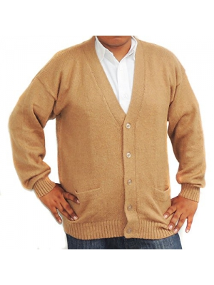 Cardigan Golf Sweater Alpaca wool Vneck Buttons and Pockets Came made in PERUl