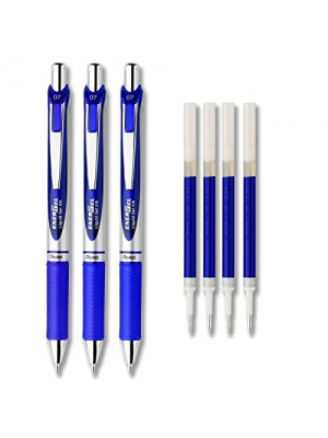 Pentel EnerGel Deluxe RTX Liquid Gel Ink Pen Set Kit, Pack of 3 with 4 Refills (Blue - 0.7mm)