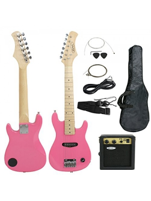 "Smartxchoices 30"" inch Kids Pink Electric Guitar with 5W Amp Combo Accessory Kit"
