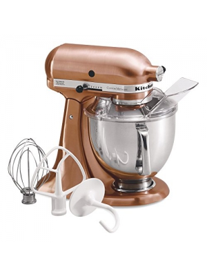 KitchenAid Metallic Series Satin Copper 5 Quart Tilt Head Stand Mixer with Stainless Steel Bowl