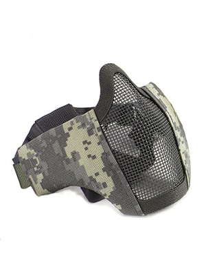 Half Face Lower Mask Foldable Mesh Adjustable Tactical Metal Steel Mask for Airsoft/Hunting/Paintball/Shooting