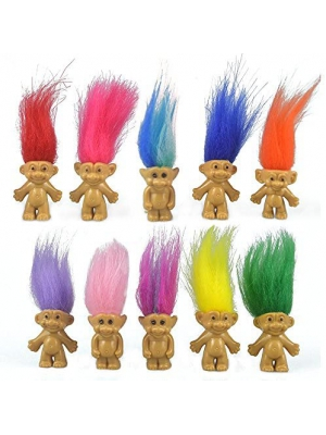 "10PCS Mini Troll Dolls, PVC Vintage Trolls Lucky Doll Mini Action Figures 1.2"" Cake Toppers Chromatic Adorable Cute Little Guys Collection, School Project, Arts Crafts, Party Favors"