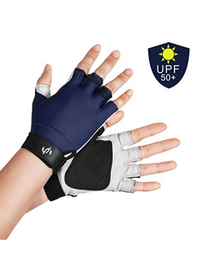 The Fishing Tree UV SUN PROTECTION FISHING FINGERLESS GLOVES, Verified UPF50+, Half Finger, Chemical Free, Washable, 2 Colors, XL to XS Sizes