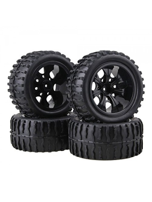 BQLZR Black RC 1:10 Truck Water Wave Tires + Wheel Hub 12mm (Pack of 4)