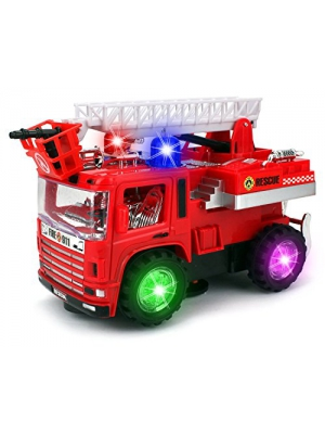 VT Mini Pumper Fire Rescue Battery Operated Bump and Go Toy Truck w/ Flashing Lights, Sounds by Velocity Toys