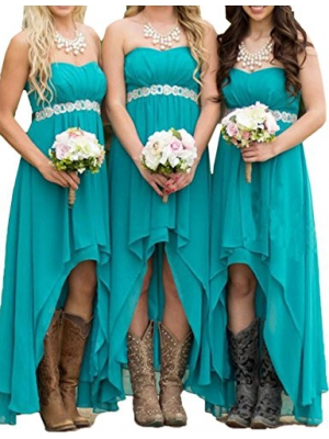 Honey Qiao Turquoise Chiffon Bridesmaid Dresses Long HiLo Crystals Sash Formal Gowns