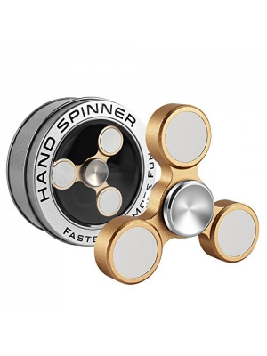 LAKASARA Fight Spinner - Finger Spinner Fidget Toy, Tri-Spinner Made by Stainless Steel Brass Metal Aluminum,2017 Best,Long Spin Time for Stress Relief, ADHD, Anxiety & Attention Deficit