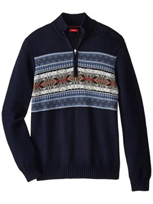 IZOD Men's Big and Tall Snowflake 1/4 Zip Sweater