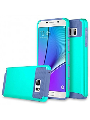 Note 5 Case, Galaxy Note 5 Case, Asstar Hybrid Dual Layer Plastic Hard Shell Flexible TPU Protective Shock Absorbing Impact Defender Slim Case Cover For Samsung Galaxy Note 5 (Aqua blue)