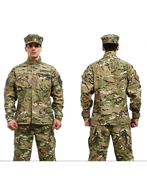 Camouflage Military Battle Dress Uniform Set, Coat + Pant Camo Paintball Hunting Clothing, ACU Type Tactical Military Combat Cargo BDU Suit