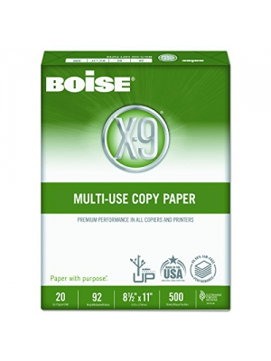 Boise OX9001 X-9 Multi-Use Copy Paper, 92 Bright, 20lb, 8-1/2 x 11, White (Case of 5000 Sheets)