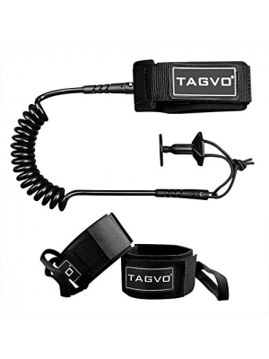 Tagvo Body Board Leash 4 Feet 7mm Coiled with 2 Pack Fin Saver, Comfortable Lightweight Padded Neoprene Cuff with Double Swivels Anti-rust Wrist Bicep Leash Set
