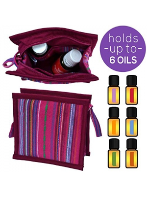 Small Essential Oils Organizer | Protects 4 - 6 Bottles: 5ml 15ml and 10ml Roller Bottles - Rollers | Compact Essential Oil Carrying Case | Perfect Little Essential Oil Travel Bag - Pouch (Pink)