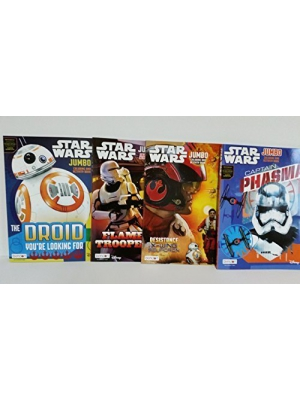 4 Pack Star Wars The Force Awakens Jumbo Double Sided Tear & Share Coloring Activity Books Featuring Star Wars Scenes, & Movie Characters for Kids with Various Artwork Cover Designs, 11 x 8 Inches