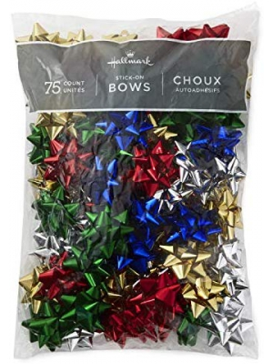 "Hallmark Holiday 3"" Bow Assortment (75 Bows; Red, Green, Blue, Gold, Silver) for Christmas Gifts"
