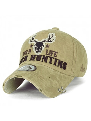 ililily WILD LIFE DEER HUNTING Embroidery Metal Piercing Ring Cotton Baseball Cap Trucker Hat