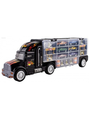 WolVol Transport Car Carrier Truck Toy for Boys and Girls (includes 6 cars and 28 slots)