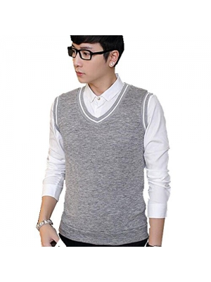 Hzcx Fashion mens slim knnited vest wool sleeveless solid sweater vests