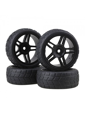 BQLZR Durable Rubber Hub Wheel Rim&Tires 1:10 On-road Racing Car RC Pack Of 4 Black