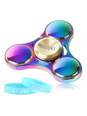 Fidget Hand Spinner UFO Titanium Alloy Colorful Rainbow Hand Spinner Fidget Toys High Speed EDC Focus Anxiety Stress Relief Toy with Luminous Wrist Strap by Ailuki
