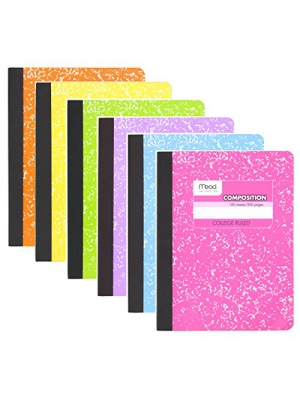 Mead College Ruled Composition Notebook, 100 sheets, Pastel Colors, 6 Pack