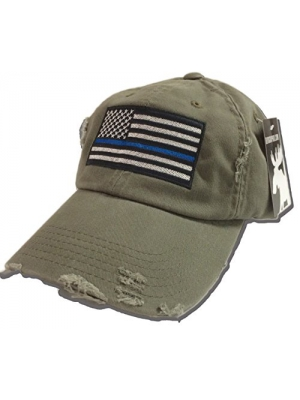 BlvdNorth Thin Blue Line LEO American Flag Hat/cap Olive Green